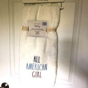 Rae Dunn All American Plush Baby Blanket White
